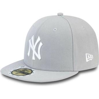 Cappellino visiera piatta grigio aderente con logo bianco per bambino 59FIFTY Essential di New York Yankees MLB di New Era