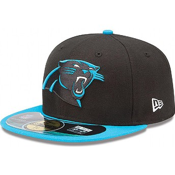 Cappellino visiera piatta nero aderente 59FIFTY Authentic On-Field Game di Carolina Panthers NFL di New Era