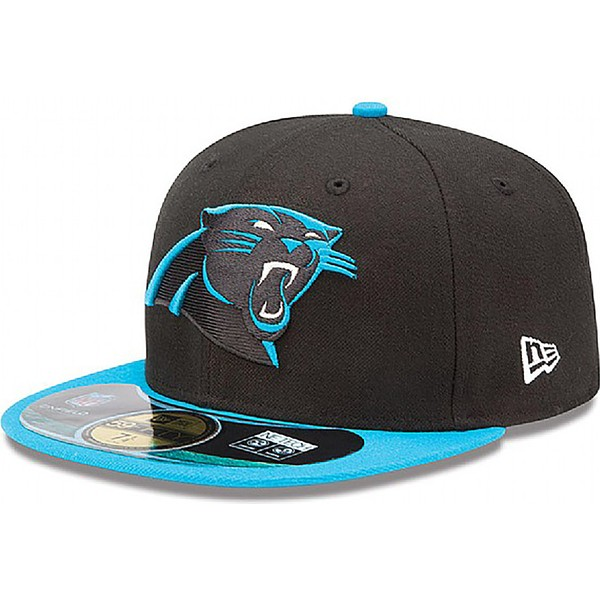 cappellino-visiera-piatta-nero-aderente-59fifty-authentic-on-field-game-di-carolina-panthers-nfl-di-new-era