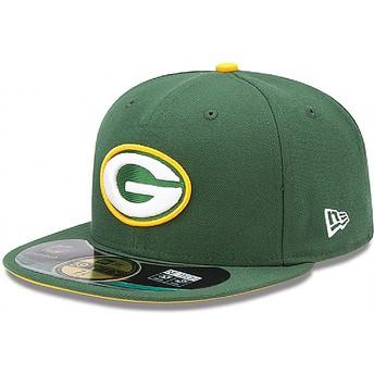 Cappellino visiera piatta verde aderente 59FIFTY Authentic On-Field Game di Green Bay Packers NFL di New Era