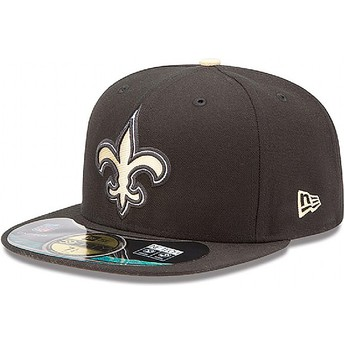 Cappellino visiera piatta nero aderente 59FIFTY Authentic On-Field Game di New Orleans Saints NFL di New Era