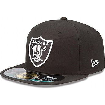 Cappellino visiera piatta nero aderente 59FIFTY Authentic On-Field Game di Oakland Raiders NFL di New Era