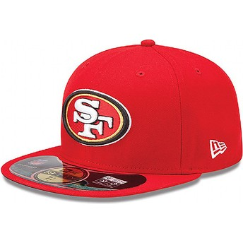Cappellino visiera piatta rosso aderente 59FIFTY Authentic On-Field Game di San Francisco 49ers NFL di New Era