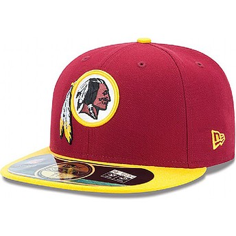 Cappellino visiera piatta rosso aderente 59FIFTY Authentic On-Field Game di Washington Redskins NFL di New Era