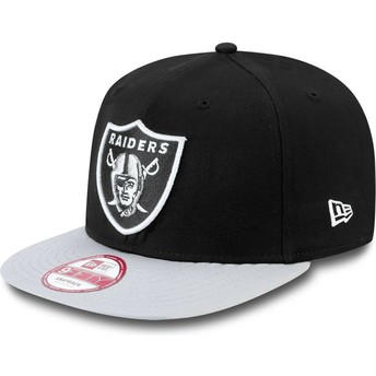 Cappellino visiera piatta grigio snapback 9FIFTY Cotton Block di Oakland Raiders NFL di New Era