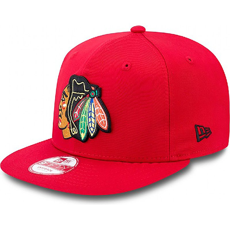 cappellino-visiera-piatta-rosso-snapback-9fifty-cotton-block-di-chicago-blackhawks-nhl-di-new-era