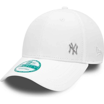 Cappellino visiera curva bianco regolabile 9FORTY Flawless Logo di New York Yankees MLB di New Era