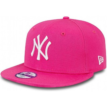 Cappellino visiera piatta rosa snapback per bambino 9FIFTY Essential di New York Yankees MLB di New Era