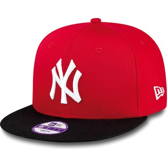Cappellino visiera piatta rosso snapback per bambino 9FIFTY Cotton Block di New York Yankees MLB di New Era
