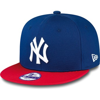 Cappellino visiera piatta blu snapback per bambino 9FIFTY Cotton Block di New York Yankees MLB di New Era