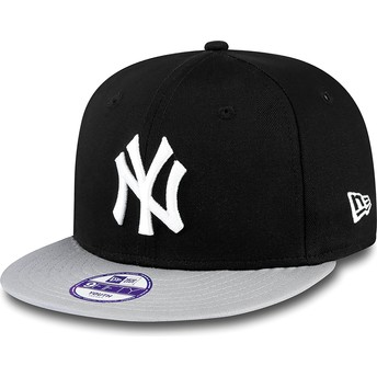 Cappellino visiera piatta nero snapback per bambino 9FIFTY Cotton Block di New York Yankees MLB di New Era