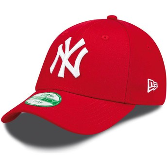 Cappellino visiera curva rosso regolabile per bambino 9FORTY Essential di New York Yankees MLB di New Era