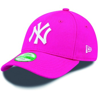 Cappellino visiera curva rosa regolabile per bambino 9FORTY Essential di New York Yankees MLB di New Era