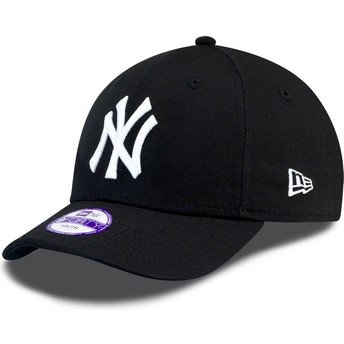 Cappellino visiera curva nero con logo bianco regolabile per bambino 9FORTY Essential di New York Yankees MLB di New Era