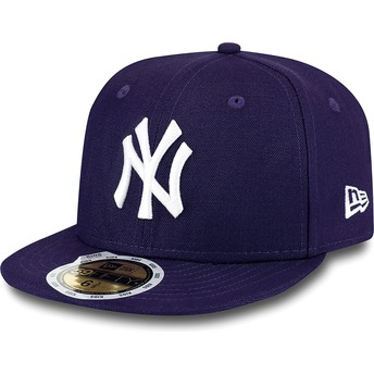 Cappellino visiera piatta viola aderente per bambino 59FIFTY Essential di New York Yankees MLB di New Era